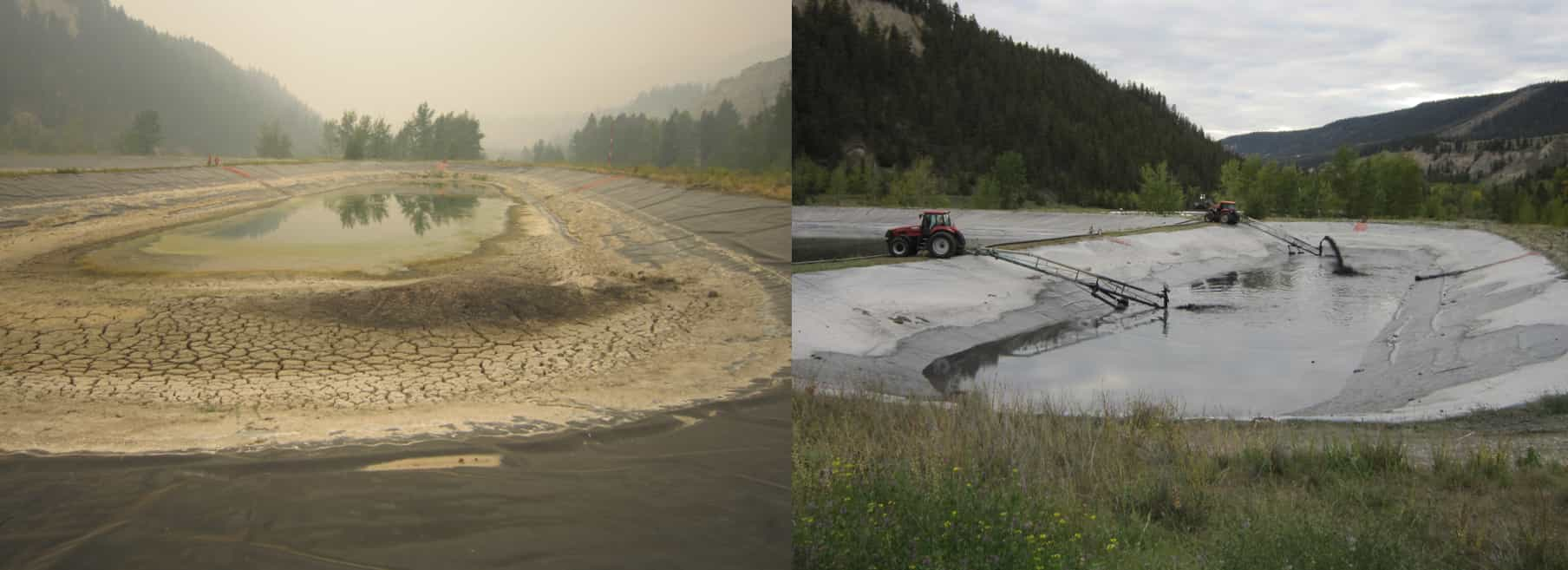 Before and after picture of a fly ash lagoon cleaning