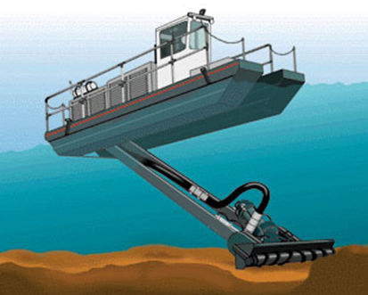 Rendering of a lagoon dredge pumping sludge and biosolids